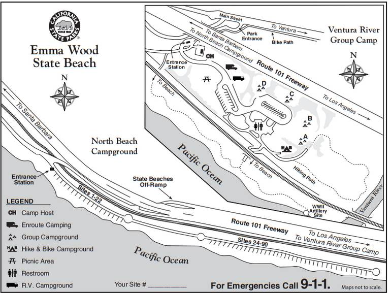 Emma Wood State Beach Campground Map