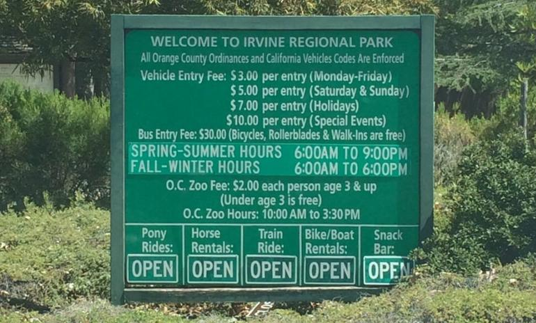 Irvine Regional Park Hours & Admission Fees