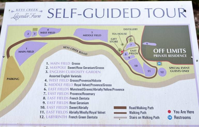 Keys Creek Lavender Farm  Self-guided Tour Map