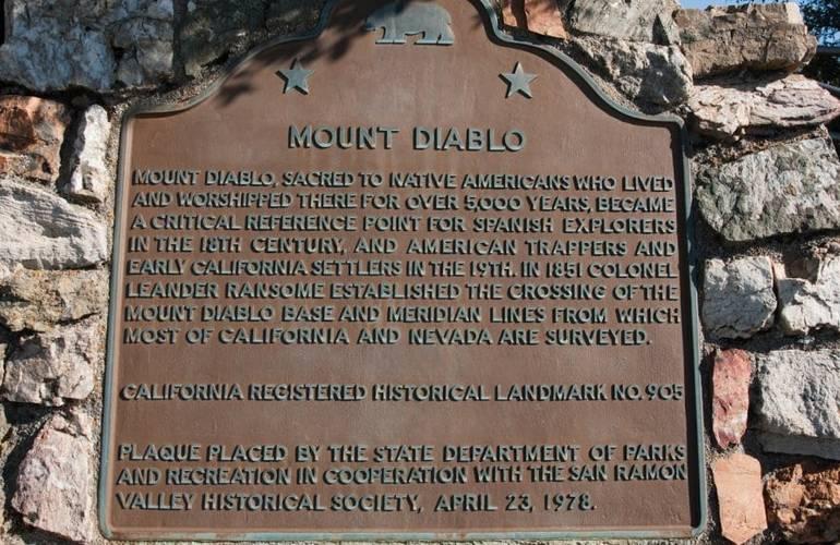 Mount Diablo State Park Plaque