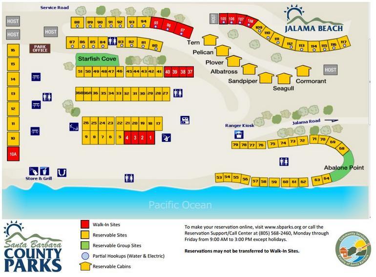 Jalama Beach Campground Map