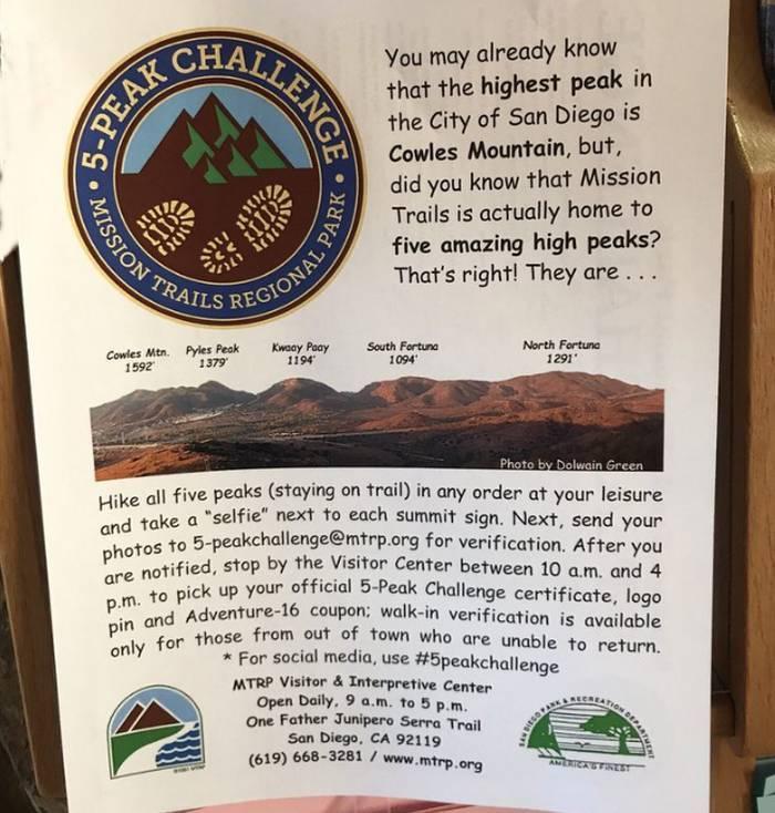 Mission Trails Regional Park 5-Peak Challenge Rules