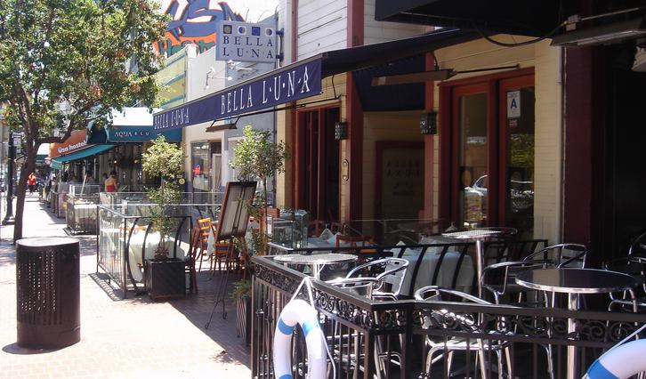 San Diego Gas Lamp Quarter sidewalk restaurants & bars