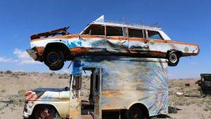 Junk Car Forest Goldfield Nevada Desert Art