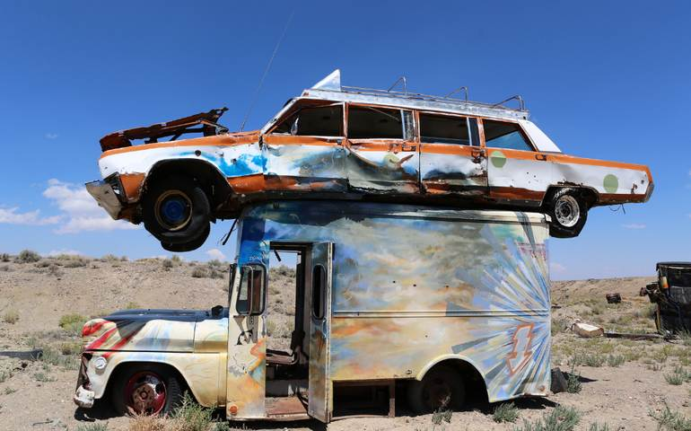Junk Car Forest Goldfield Off Beat Nevada Desert Art