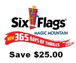 Six Flags Magic Mountain Save $25.00