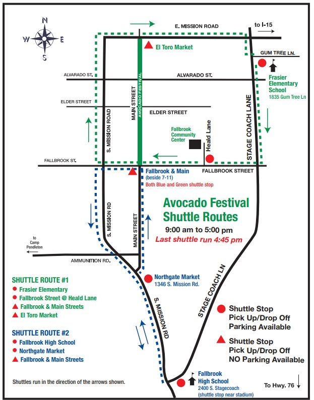 Fallbrook Avocado Festival Parking & Shuttle Map